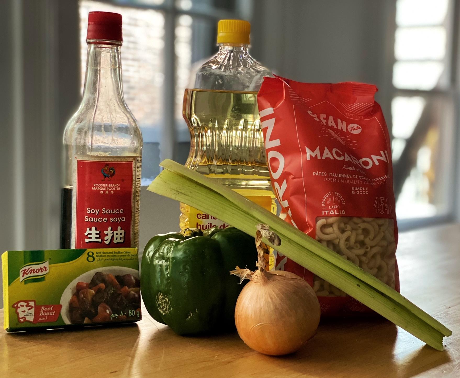 ingrédients pour le macaroni chinois